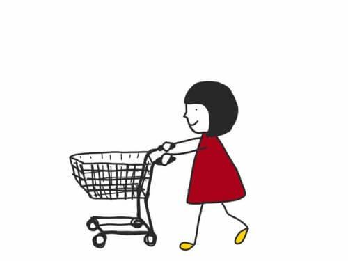 女の子と買い物カート